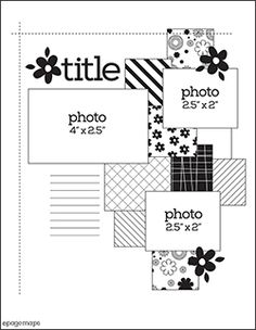 12x12 Scrapbook Sketch 3 Photos. Room for a Title, Journaling or Word Strips, and Embellishments.