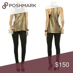 A.L.C. Gold Layered Tank Like new. Stretch loose fit black tank under. Poly gold shimmer crinkle layer ontop with 100% silk lining. A.L.C. Tops Tank Tops