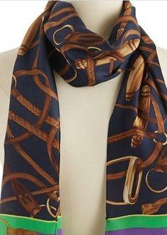 Lauren Ralph Lauren Silk Bridal equestrian horse tack Print Scarf Navy NWT #RalphLauren #Scarf