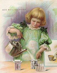 Jell-O. Add boiling water. Detail from Jell-O recipe book. From the Liza Cowan Ephemera Collections.