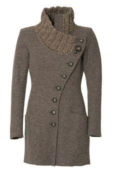 Gro a Live Anthropologie Boiled Wool Long asymmetric Jacket knit collar Chestnut #GroaLiveCaschCopenhagen #Military