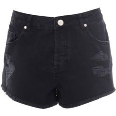 Miss Selfridge Black Distressed Denim Short ($40) ❤ liked on Polyvore
