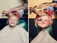 Artist Julio Cesar finds photos of random people and recreates them as fun, illustrated characters. #art #illustration