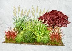 Im Gräsergarten glänzt die Flora eines ganzen Jahres. Zur zarten Leichtigkeit von Halmen und Blättern passt wunderbar das raue Antlitz steiniger Mauern.