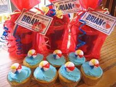 beach party cupcakes and party favors