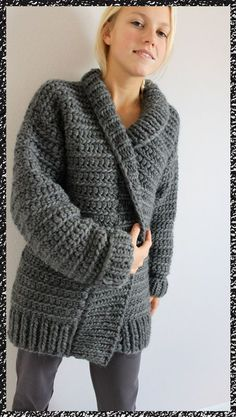 gilet au crochet n°10  Size 10mm crochet hook, rectangle for back, two rectangles for front, two more for sleeves. All double crochet stitches. Maybe FP / BP double crochet for collar edge, trim, and cuffs. Day or 2 project...hmmm?