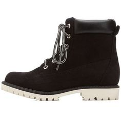 Charlotte Russe Lace-Up Lug Sole Work Booties