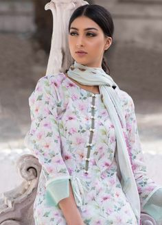 Buy Malhar Lawn Printed Bamboo Summer 2019 Collection Printed Lawn Unstitched 3 Piece Suit from Sanaulla Store - Original Products. Dresses Elegant, Pakistani Dresses Casual, Pakistani Dress Design, Casual Summer Dresses, Summer Dresses For Women, Stylish Dresses, Summer Suits, Indian Dresses, Indian Outfits