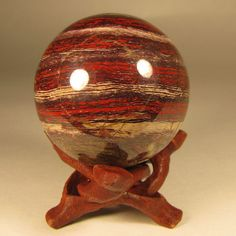 50mm Red SNAKESKIN JASPER Sphere Ball w/ Stand - Australia - 51mm