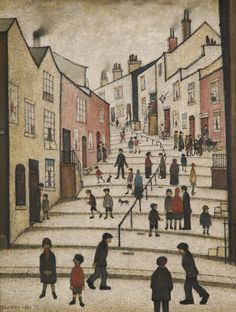 Crowther Street, Stockport, Cheshire - L S Lowry Salford, Your Paintings, Landscape Paintings, Landscapes, Stockport Uk, English Artists, Thing 1, Art Uk, Naive Art