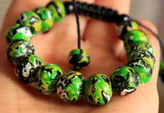Beaded bracelet Clay beads / Mokume jewelry/ Womens gift/ Adjustable bracelet/ Polymer clay beaded bracelet/