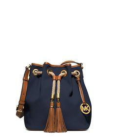 Marina navy canvas bucket bag by Michael Kors on secretsales.com Mk Purse,  Handbags 22762faace