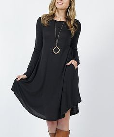 ce463966a6fe Black Lightweight Pocket Long-Sleeve Sweater Dress - Women   Plus