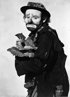 Emmett Kelly, clown, expression, emotional, male, hat, portrait, b/w