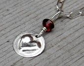 Little Heart Necklace, Valentine's Day Gift, Small Sterling Silver Puffed Heart with Garnet Pendant Necklace - Women, Girls, Heart Jewelry