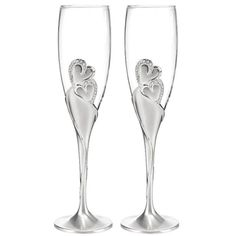 Double Heart Champagne Glasses Wedding Sparkling Love Toasting Flutes Set 2 Gift #SourcedWit