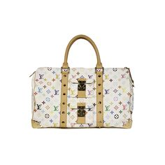Pre-Owned Louis Vuitton Multicolore Mono Limited Edition 45cm Keep All... ($1,395) ❤ liked on Polyvore featuring bags, handbags, white multicolore, multi colored purses, foldover handbags, louis vuitton, white purse and colorful handbags
