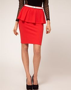 Peplum is also on-trend right now. Really look the part in this peplum, bold red pencil skirt.