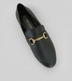 Black Snaffle Trim Loafers   New Look