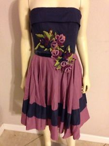 Betsey Johnson Purple Navy Blue Dress 8 Floral Rockabilly 50's Style Petty Coat   eBay