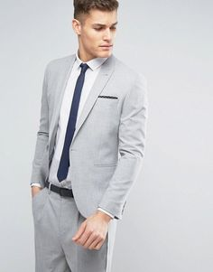 ASOS Skinny Suit Jacket in Ice Gray