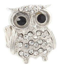Beautiful ring designed in the shape of an owl with large crystal-studded eyes and a crystal-studded body. This adorable ring is...