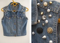 studs and pearls - embellished denim vest Diy Jeans, Sweater Refashion, Denim Vests, Do It Yourself Fashion, Denim Outfit, Diy Clothing, Handmade Clothes, Diy Fashion, Jackets