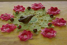 RSSDesignsInFiber: My Newest Handmade - 3D Rose Cluny Lace Doily - Decorated with Polymer Clay Rose Beads - Handmade by @rssdesignsfiber - RSS Designs In Fiber -  Blogging about the making of - including incorporating Handmade Polymer Clay Rose Beads by @julielcleveland into my Thread Crochet.