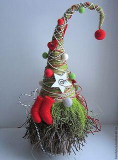 "Купить ""Морозное утро"" - валенки, новогодняя елка, фетр, новогодний подарок, новогодний сувенир"