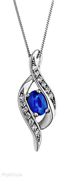 White Gold Sapphire & Diamond Pendant Necklace
