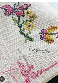 Embroidery On Kurtis, Kurti Embroidery Design, Embroidery Motifs, Ribbon Embroidery, Cross Stitch Embroidery, Knitting Patterns Free Dog, Butterfly Cross Stitch, Stitch 2, Needlework