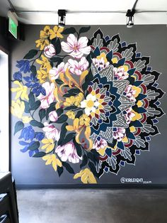 Behind The Scenes By arts_promote Mural Floral, Flower Mural, Floral Wall, Mandala Art, Mandala Design, Graffiti Art, Wall Painting Decor, Mural Wall Art, Wall Painting Flowers