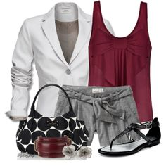 Outfit Idea : white blazer + grey bottom (short, skirt or cropped pants) + bordeaux top