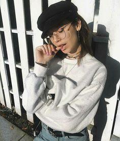 • grey sweat   • vintage jeans   • vintage cap hat • jewellery