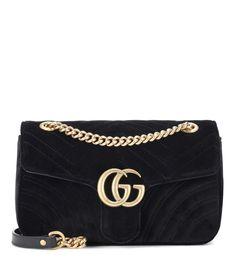 GG Marmont Small black velvet shoulder bag