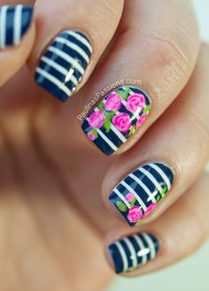 Nautical Rose Nails | See more at http://www.nailsss.com/... | See more nail designs at http://www.nailsss.com/nail-styles-2014/2/