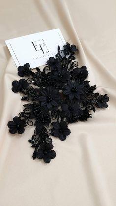 Black 3d Lace applique, Beaded lace applique, French Chantilly lace applique, 3D lace, bridal lace applique