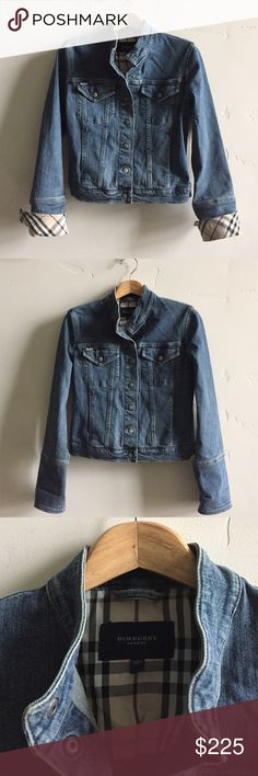 """Authentic Burberry Denim Jacket Authentic Burberry classic, casual chic denim snap up jacket.   Features Nova Check trim, two snap chest pockets and two hand pockets.  Lying flat from armpit to armpit is 18"""" or a 36"""" bust.  From top of shoulder to bottom of jacket is 21"""".  In excellent condition. Burberry Jackets & Coats Jean Jackets"""