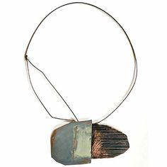 "Brooke Marks-Swanson,  ""Landscape Series"" Neckpiece copper, paint, stone, oxidized silver, 22k gold leaf"