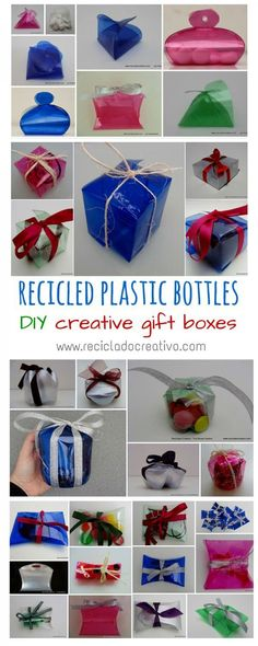 Amazing Gift Boxes Made Out Of Recycled Plastic Bottles Creative ideas to reuse plastic bottles and make amazing gift boxes with them. You can choose bottles of different sizes and colors to make your own boxes: square boxes, pillow boxes, Bomboniere Reuse Plastic Bottles, Plastic Bottle Crafts, Recycled Bottles, Diy Gift Box, Diy Box, Gift Boxes, Favor Boxes, Recycler Diy, Recycled Crafts