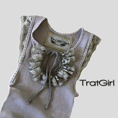 Womans Tank Top Gray Functional Keyhole Embroidered by tratgirl55, $52.00