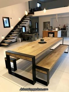 table ideas for your interior concept metal wood accompanies you # . - table Ideas for your metal-wood interior concept will accompany you ta - Furniture, Interior, Room Furnishing, Modern House Design, Home Decor, House Interior, Dining Room Paint, Home Interior Design, Furniture Design