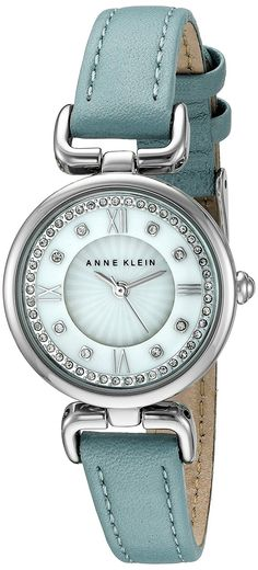 Anne Klein Women's AK/2383MPLB Swarovski Crystal Accented Silver-Tone and Blue Leather Strap Watch ** Check out the watch by visiting the link.