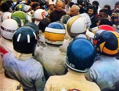 Helmets - Briefing held by Gianni Restelli and Count Giovannino Lurani, Italian GP at Monza.