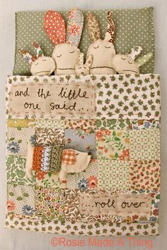 Make your own creation for a little one. Combine patchwork, hand embroidery, knitted or crocheted sections. Lovely photos for inspiration . Sewing Toys, Sewing Crafts, Sewing Projects, Diy Crafts, Small Quilt Projects, Fabric Toys, Fabric Art, Fabric Crafts, Handmade Toys