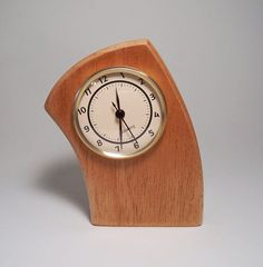 Curved Leaning Desk Clock Made of Mahogany by JillianJonesEnt, $35.00