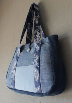 Denim and Canvas Handbag with front Pocket and Fabric Button - Blue Floral Printed Canvas by AllintheJeans on Etsy