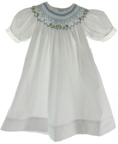 13b09a9f0 Hiccups Childrens Boutique - Girls White Bishop Dress with Blue Smocking  Girls Smocked Dresses, Blue