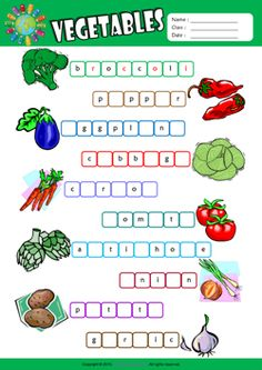Vegetables Missing Letters in Words ESL Vocabulary Worksheet
