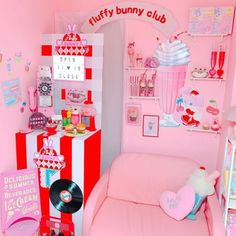 Unicorn Cafe, Diner Aesthetic, Kawaii Bedroom, Otaku Room, Pastel Room, Cute Cafe, Aesthetic Bedroom, Wallpaper Iphone Cute, Little Girl Rooms